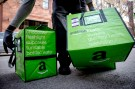 An Amazon worker delivers groceries from the Amazon Fresh service in the Brooklyn Borough of New York
